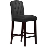 Skyline Furniture Denise Tufted Arched Barstool in Shantung Black