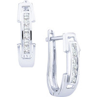 Round Diamond Ladies Fashion Earrings in 14k White Gold 0.2 ctw