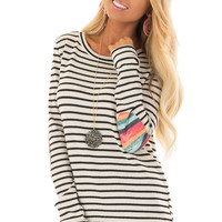 Cream Striped Top with Distressed Multicolor Elbow Patches