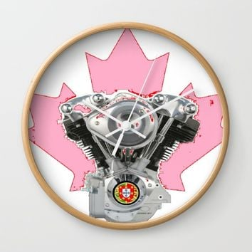Portuguese Canadian Biker Hot Pink Culture. Wall Clock by Tony Silveira