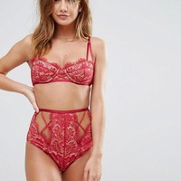 ASOS Sofia Eyelash Strappy Lace Underwire Bra Set in Red at asos.com