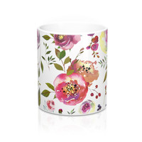 Watercolor Roses Flower Coffee Mug