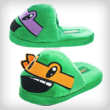 NEW ADULT Teenage Mutant Ninja Turtles Mask TMNT Slippers PLUSH HOUSE SHOES S-XL