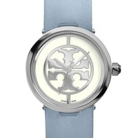 Women's Tory Burch 'Reva' Logo Dial Leather Strap Watch, 28mm - Light Blue/ Silver