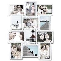 Adeco [PF0174] White Wood Wall Collage Basket-Weave Picture Frame, 12 Openings of 4x6 inches each