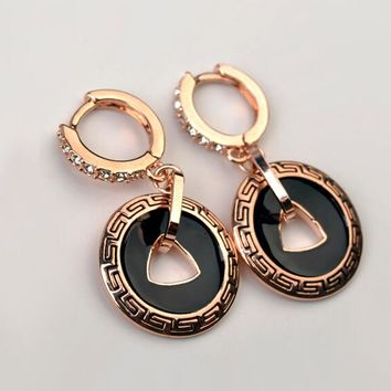 Rose Gold Color Austria Crystal Vintage Drop Dangle Earrings For Women and Men Accessories