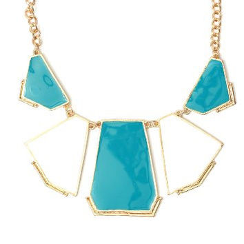 Enamel Plate Panels Bib Necklace NK04 Modern Geometric White Blue Art Deco Fashion Jewelry