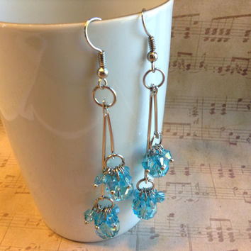 "Handmade Swingy Light Blue & Silver Faceted Czech Crystal Rondelle and Bicone Beads 3-1/4"" (80mm) Long Double Dangle Earrings #CHEP0001-BL"