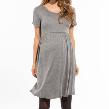 Gray Melange Limbo Maternity/Nursing Dress