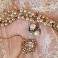 60s set necklace earrings bracelet faux pearl crystals rhinestones pendant clip on bridal
