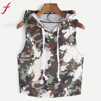 Camouflage Tank Tops Women 2017 Fashion Sexy Hooded Crop Sleeveless T-Shirt Tops Army Green Tank Tops Ladies' Vest