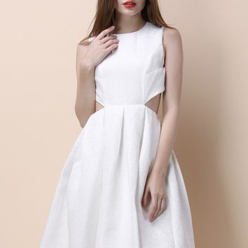 Born to Shine Cutout Embossed Dress in White