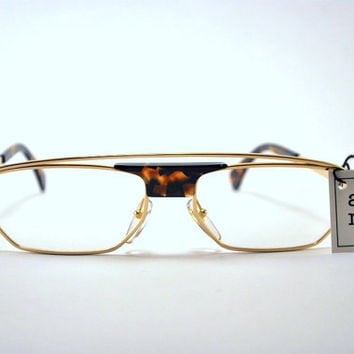 Vintage 80s/90s Cool New Wave Gold Tone and Tortoise Shell Frames/Glasses