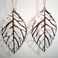 Buy Silver Large Filigree Leaf Long Drop Earrings on Shoply.