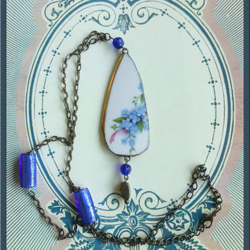 Handmade broken china Forget-me-nots blue flowers pendant