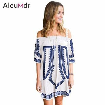 PEAPGC3 Aleumdr Women Summer Off The Shoulder Beach Dress Bohemian Geometric Printed Tunics For Beach Cotton LC42149 Saia De Praia