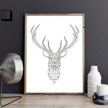 Deer printable, deer wall print, stag print, buck wall art, geometric print, scandinavian art, deer poster, woodland print, black and white