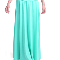 Turquoise Jersey Knit Maxi Skirt
