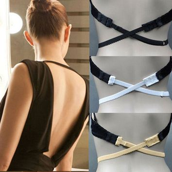 New Fashion Back Backless Bra Strap Adapter Converter Fully Adjustable Extender Hook Women's Fashion Bra Strap 3 Colors W0004