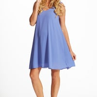 Basic Periwinkle Chiffon Maternity Dress