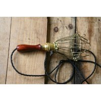 Hanging Pendant Cage Light Industrial Wood Handle - Vintage Style Wire Cage Guard by Industrial Rewind
