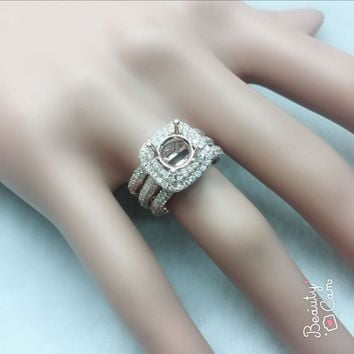 Round Cut 7mm Solid 14K Rose Gold Natural Diamond Semi Mount Ring band
