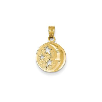 14k Yellow Gold Polished Flat-Backed Moon with Three Stars Pendant