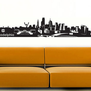 Wall Vinyl Sticker Decals Decor Art Bedroom Design Mural Philadelphia Skyline Town City (z990)