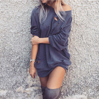 Ripped One Shoulder Sweater Dress