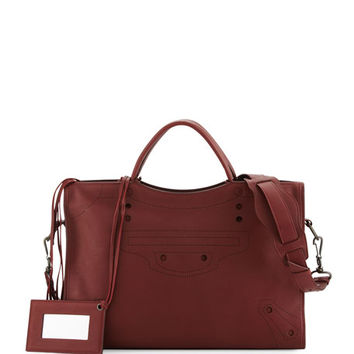 Balenciaga Blackout City AJ Shoulder Bag, Bordeaux