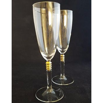 Crystal Flutes with Gold Knots/Faceted Stems  S/2
