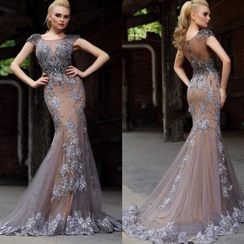 Illusion Mermaid Prom Dresses
