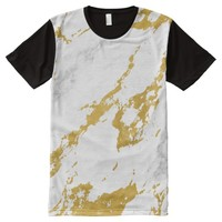 Elegant Marble style6 - Gold and White All-Over-Print Shirt