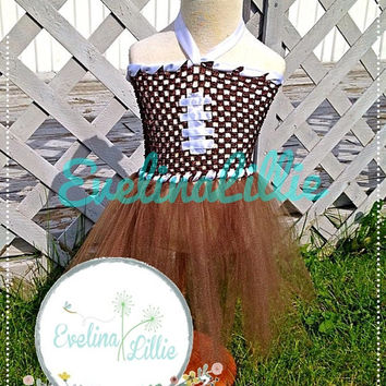Cute Football Tutu Dress for Girls with Matching Headband/ Football dress/ Football Tutu Dress/ Tutu dress with matching bow/ Sports dress