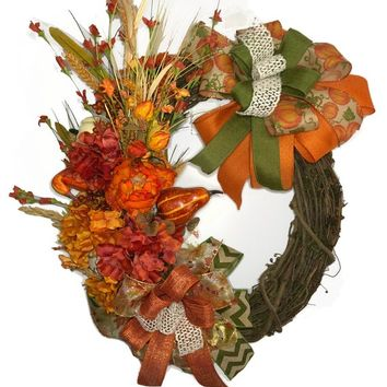 Fall Grapevine Wreath | Fall Wreath | Grapevine Wreath | Autumn Wreath | Fall Grapevine | Front Door Wreath | Fall Decor | Farmhouse Wreath