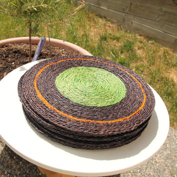 12 inch Round natural placemat, table heat protector, natural organic material, grass, handmade blue green orange