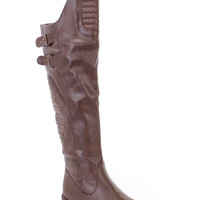 Brown Quilted Design Knee High Flat Fall/Winter Boots Faux Leather