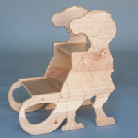 Dinosaur Stools Handcrafted in Hickory