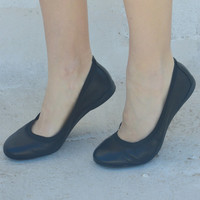 Leather shoes in black /ballet flats/ready to ship
