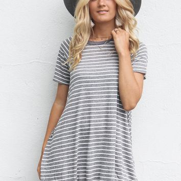 Hope For Us Charcoal Stripe T-Shirt Dress