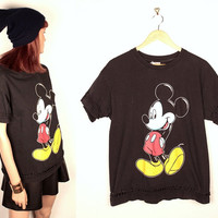 vintage mickey mouse tshirt // braided trim // reconstructed