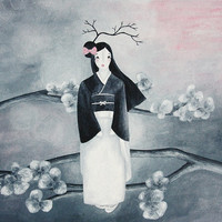 Geisha with cherry blossom tree illustration print