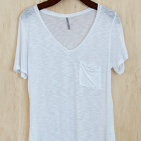 Perfectly Imperfect One-Pocket Shabby Tee, White
