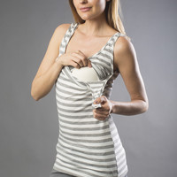 Bun Striped Long Maternity & Nursing Tank {Grey & White}