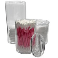 Evelots Cotton Balls/Swab/QTips/Pads Container-Acrylic- 3 Compartments With Lids