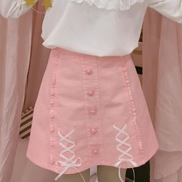 Harajuku Women Skirt Preppy Style Lace-up Bow Skirts Mini Cute School Uniforms Saia Faldas Ladies Jupe Kawaii Skirt SK1160