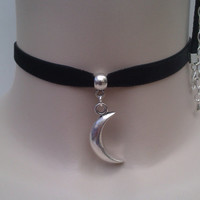 Solid Tibetan Silver CRESCENT MOON Charm 10mm BLACK Velvet Ribbon Choker.. or choose another colour velvet :)