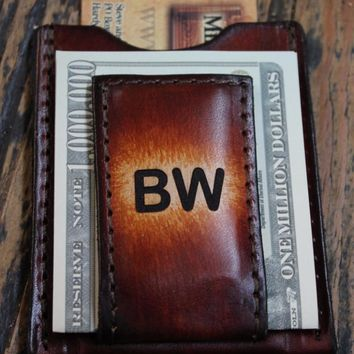 Magnetic Moneyclip Wallet with Pocket for Credit Cards--Great Groomsmen's Gifts --Brown Shown(Initials Engraved Free)
