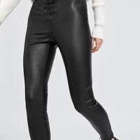 FAUX LEATHER HIGH WAISTED LEGGINGS WITH LACING