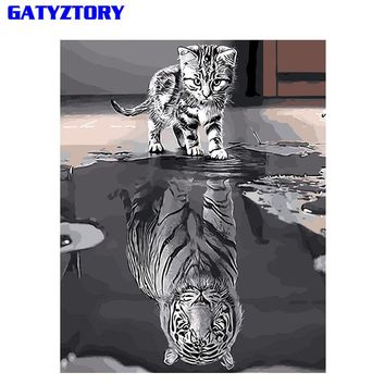 GATYZTORY Reflection Cat DIY Painting By Numbers Acrylic Paint On Canvas Modern Wall Art Picture Coloring By Numbers Home Decor